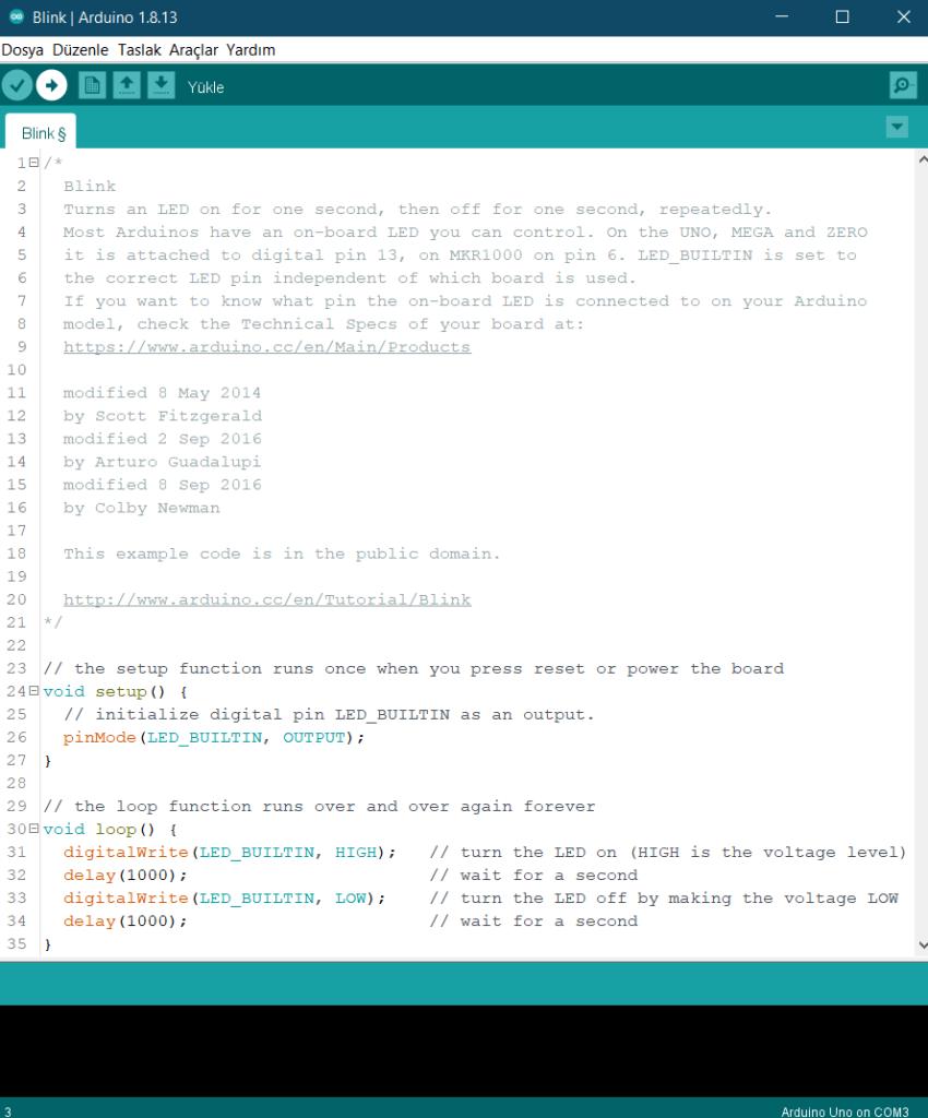 Arduino'ya kod ekleme