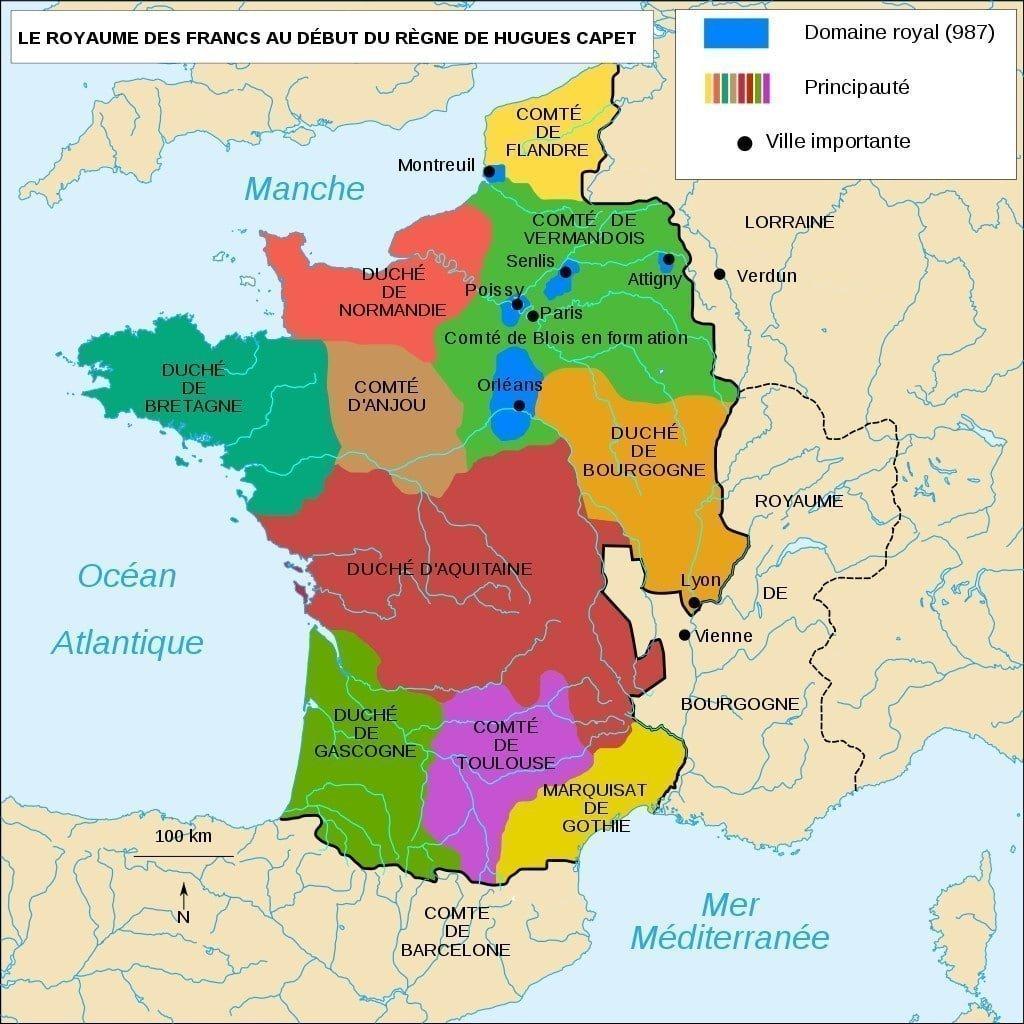 Yüksek Orta Çağ'da Fransa Haritası
